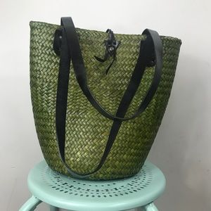 Bags - VINTAGE | Green Straw Bag Lined